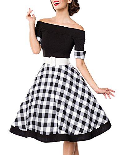 Schwarzes knielanges Swing Kleid im High Waist Schnitt mit Gürtel und Manschetten kariert und schulterfrei bandeau L
