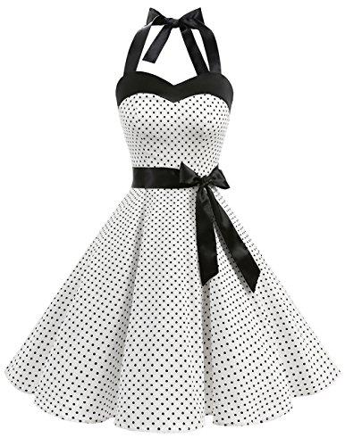 DRESSTELLS Hochzeitskleider Neckholder Rockabilly 1950er Polka Dots Punkte Vintage Retro Cocktailkleid Petticoat...