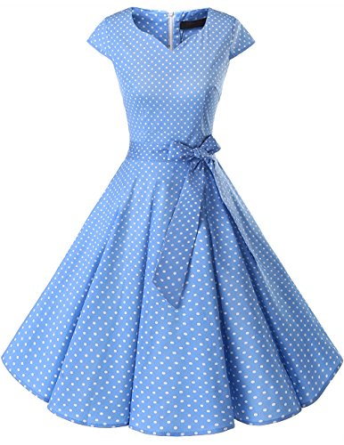 Dresstells Damen Vintage 50er Cap Sleeves Rockabilly Swing Kleider Retro Hepburn Stil Cocktailkleid Blue Small White Dot...