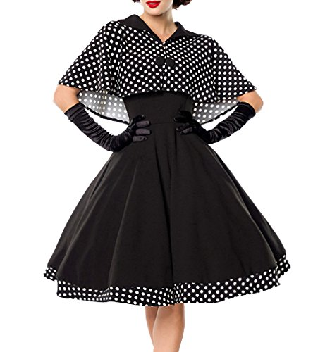 Schwarzes knielanges Swing Kleid im High Waist Schnitt mit Cape und abnehmbar gepunktet und Umlegekragen bandeau L
