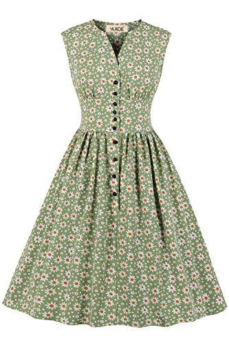 AXOE Damen Vintage Kleid 50er 60er Jahre Mode Armellos mit Gänseblümchen Blumenmuster Hellgrün, F01, Gr.40-42, L