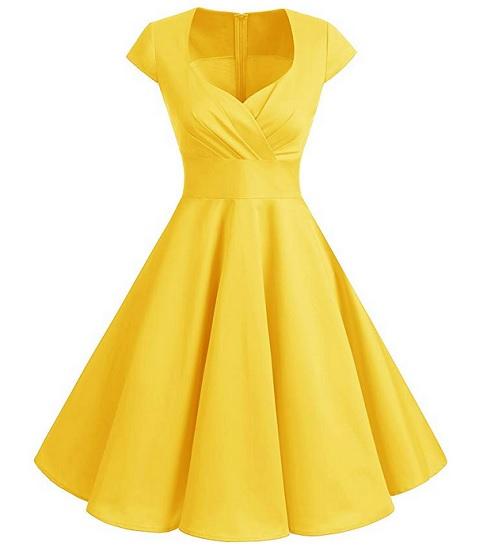 50er Jahre Mode Damen Rockabilly Kleid Petticoat Kleid Vintage Kleid gelb Swing Kleid