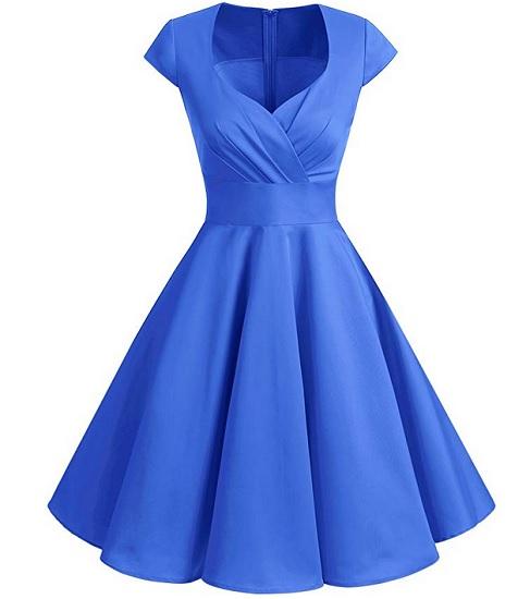 50er Jahre Mode Damen Vintage Rockabilly Petticoat Kleid blau Swing Kleid