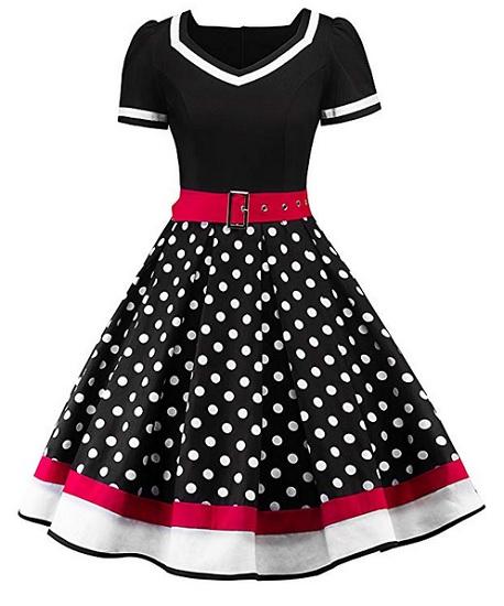 Rockabilly Kleid Petticoat Kleid 50er Jahre Mode Damen Vintage Kleid Swing Outfit